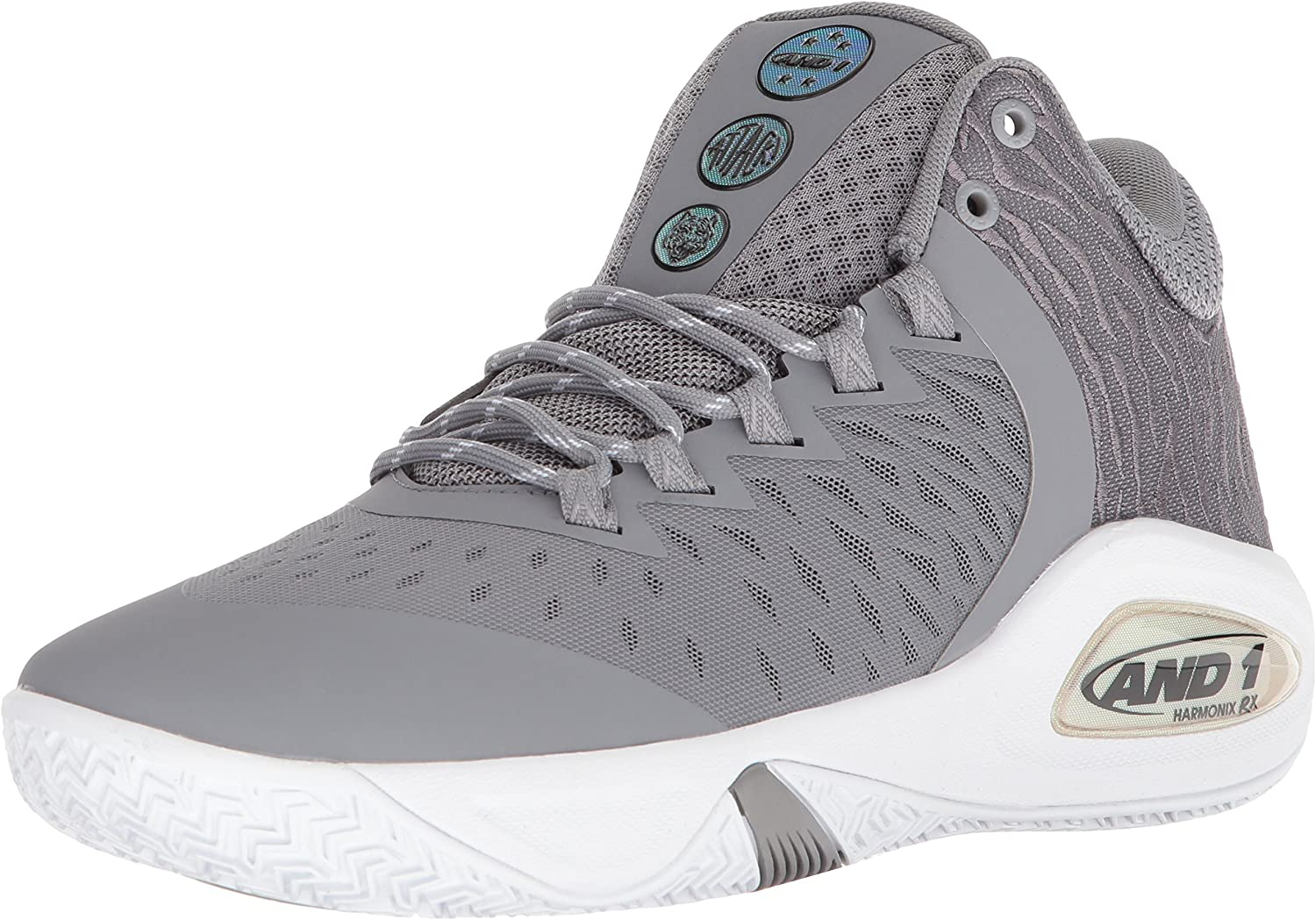 AND1 Men's Attack Mid Basketball shoes, Alloy Super Foil White, 11 UK