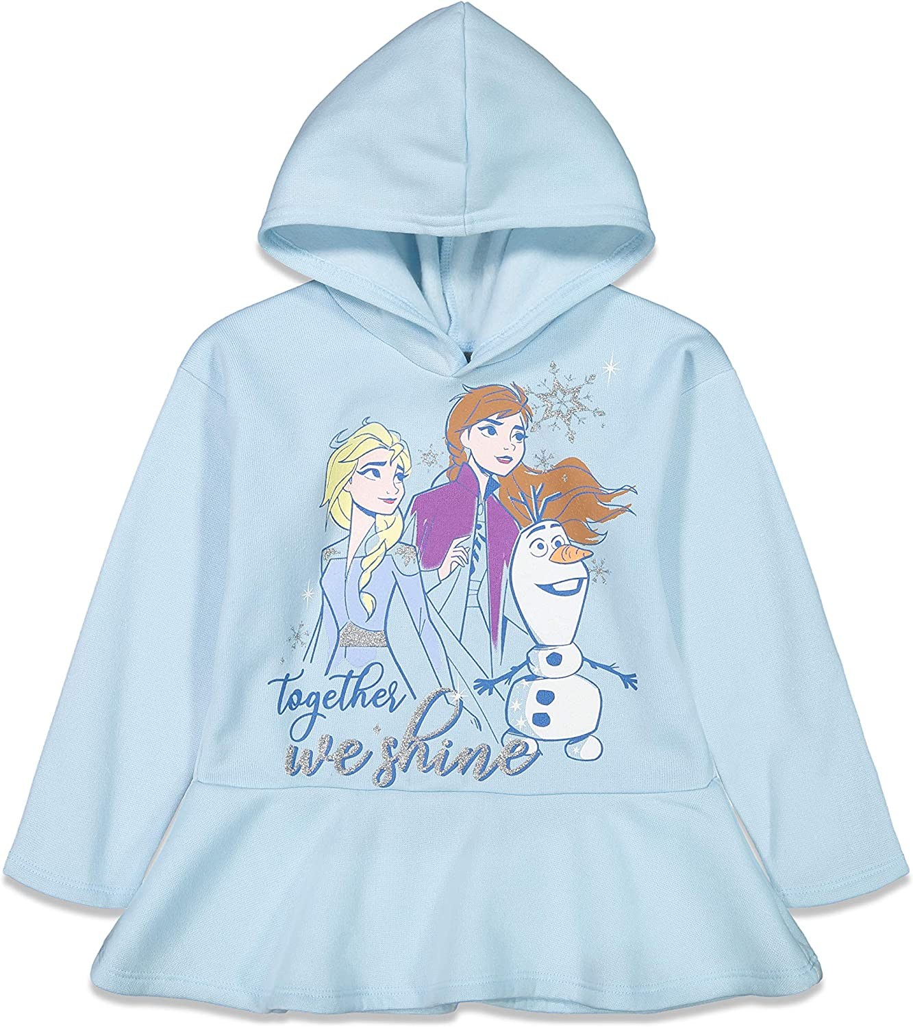 Disney Frozen Princess Anna Queen Elsa Ruffled Sleeves Hooded Legging Set