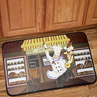Sweet Home Collection Memory Foam Anti Fatigue Chef Design Kitchen Floor Mat Rug, Happy Chef, 30
