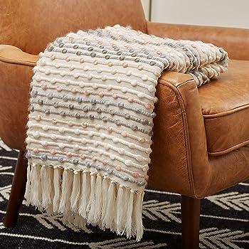 "Amazon Brand – Rivet Bubble Textured Lightweight Decorative Fringe Throw Blanket, 48"" x 60"", Grey and Cream"