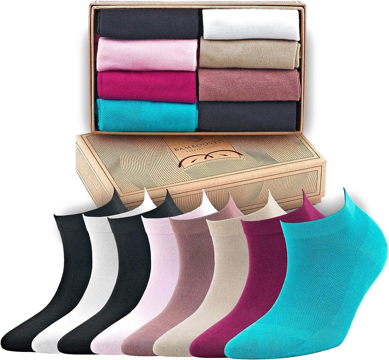 Bambooven Women's Premium Bamboo Ankle Casual Socks 8pk. Gift Box