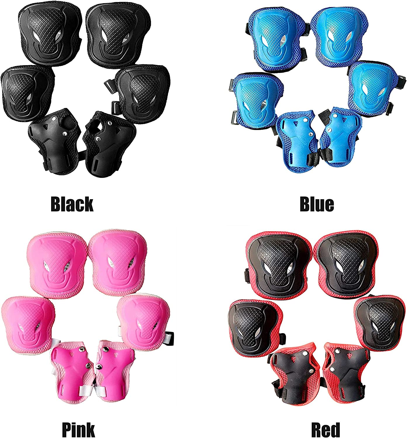 GEZICHTA Protective Gear Set 6pcs Wrist Guard Cycling for Kids Outdoor Sports Elbow Knee Pads Adjustable Accessories Sponge ller Skating Skateboarding Safety Unisex Black
