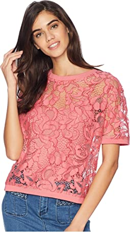 Soft Woven Hibiscus Lace Top