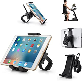 "AboveTEK All-in-One Indoor Cycling Bike iPad/iPhone Mount, Portable Compact Tablet Holder for Gym Handlebar on Exercise Bikes & Treadmills, 360° Swivel Stand for 3.5-12"" Tablets/Cell Phones"