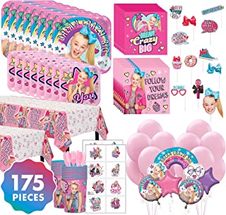 JoJo Siwa Mega Ultimate Kids Birthday Party Supplies for 16 Guests, 175 Pieces, Includes Tableware, Balloons, Favor Cups, and Party Favors