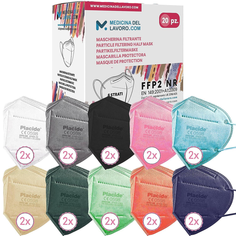 20 Mascarillas FFP2/KN95 Colores Mix Homologadas Certificación CE sin Válvula de 6 Capas, Máscara Protectora de Polvo, Mascarilla de Protección Personal con Filtros de Calidad BFE≥95, 20 Piezas