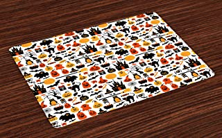 Lunarable Halloween Place Mats Set of 4, Halloween Group Candies Owls Castles Ghosts October 31 Theme, Washable Fabric Placemats for Dining Table, Standard Size, Orange Yellow