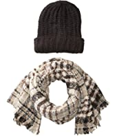 Steve Madden Pack Me Plaid Two-Piece Wrap Beanie