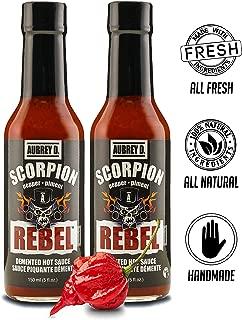 Aubrey D. Rebel Scorpion Hot Sauce, Gluten Free, Crazy Spicy Pepper for Meat, Chicken, Dips, BBQ Ribs, Fiery Wings, (2 bottles 5 oz each).