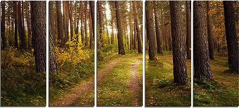 "Design Art PT13930-60-28-5PE 5 Panels Road through Thick Fall Forest Modern Canvas Art, 60 x 28"""