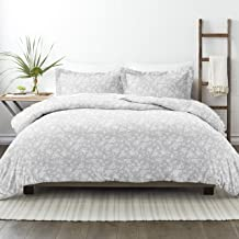 Simply Soft Premium Rose Pattern 3 Piece Duvet Cover Bed Sheet Set, Full/Queen, Light Gray