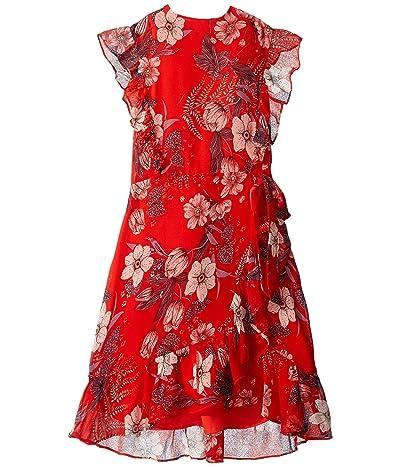 Bardot Junior Enid Wrap Dress (Big Kids) (Orange Floral) Girl