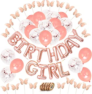 Rose Gold Birthday Decorations Set - 12 inch Confetti & Rose Gold Helium Balloons - Metallic Mylar Birthday Girl Banner Letters & Ribbons - Butterfly Shaped Cupcake Toppers Birthday Girl Party