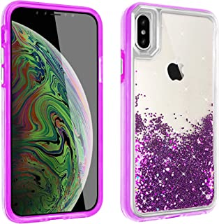 Liquid Quicksand Glitter Case for iPhone XR Shockproof Bling Waterfall Robot Cute Girl Women Shiny Luxury Soft Clear Rubber Commuter Defender Cover for iPhoneXR (Purple, iPhone XR)