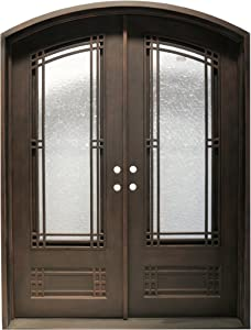 MCM3 High-end Double Wrought Iron Entry Doors,Traditional Design,LOW-E Double Glass,99.5''x64.5''