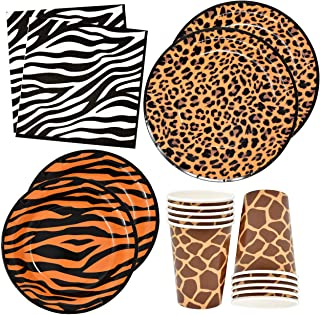 """Jungle Safari Zoo Animal Print Party Supplies Set 30 9"""" Paper Plates 30 7"""" Plate 30 9 Oz Cups and 60 Lunch Napkins for Leo..."""