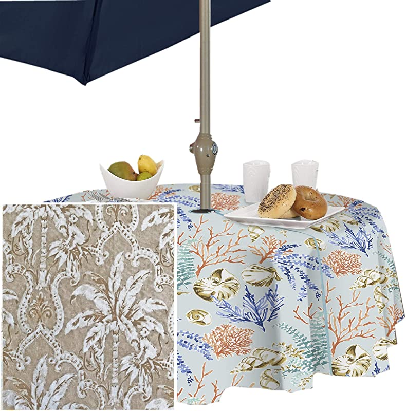 Newbridge Rafiki Natural Tropical Monkey Print Indoor Outdoor Fabric Tablecloth Taupe Monkey Palm Tree Jungle Picnic BBQ And Patio Tablecloth 70 Round Zippered Umbrella Tablecloth
