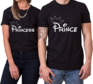 Krone Prince Princess King Queen Partnerlook Camiseta de los Pares Dulce para Parejas como Regalos