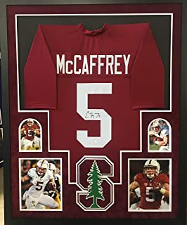 Christian McCaffrey Stanford Cardinals Autograph Signed Custom Framed Jersey Suede Matted JSA Witnessed Certified
