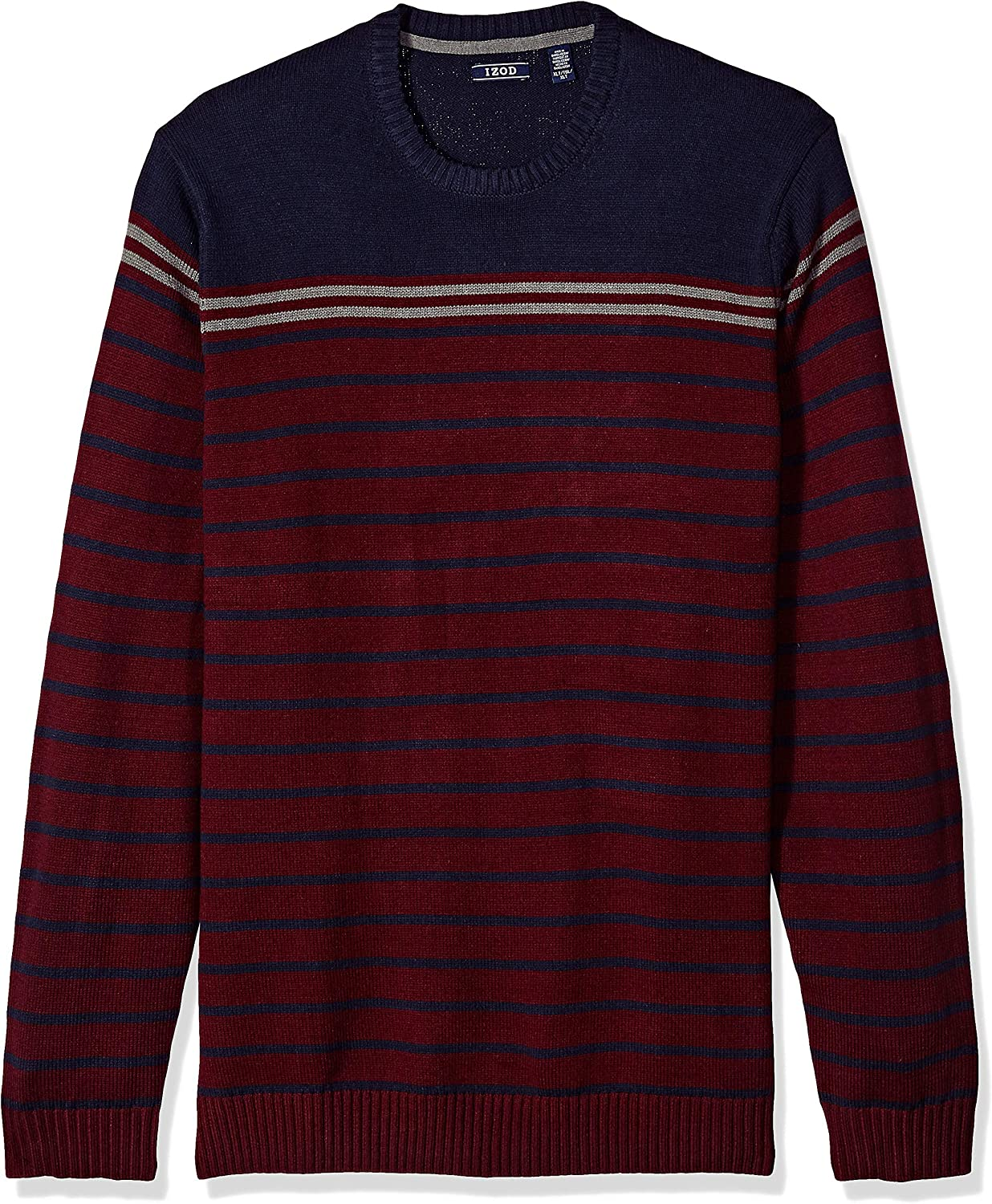 IZOD Mens Big and Tall Stripe 7 Gauge Crewneck Sweater