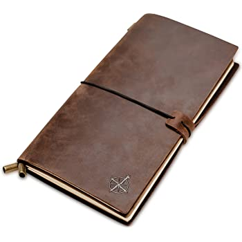 Leather Notebook - Wanderings Refillable Travel Journal - Hand-Crafted Genuine Leather Journal for Writing, Poets, Travelers, as a Diary or Life Planner - Blank Inserts - 8.5x4.5in