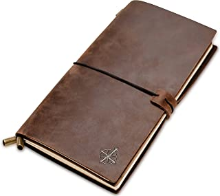 "Leather Travel Journal - Travelers Notebook, Refillable | Perfect for Writing, Poetry, Log Book, Travellers, a Diary. Standard Size | Lined Inserts | 8.5""x4.5"""