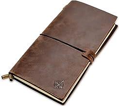 Cuaderno de Cuero - Cuaderno de Viaje Rellenable | Cuero auténtico hecho a mano. Libreta Perfecto para Escritura, Poesía, Viajes, como Diario o Planificador. Insertos en blanco | Leather Journal | 22 x 12cm
