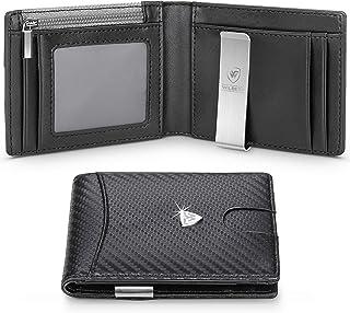 wilbest® Portafoglio Uomo Slim Blocco RFID con Fermasoldi, Piccolo Portafogli con Tessere Tascabile Documenti, Porta Carte...