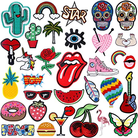 Rymall Patch Sticker 32 PC Patch Sticker, Cute DIY Ropa Parches para la Camiseta Jeans Ropa Bolsas