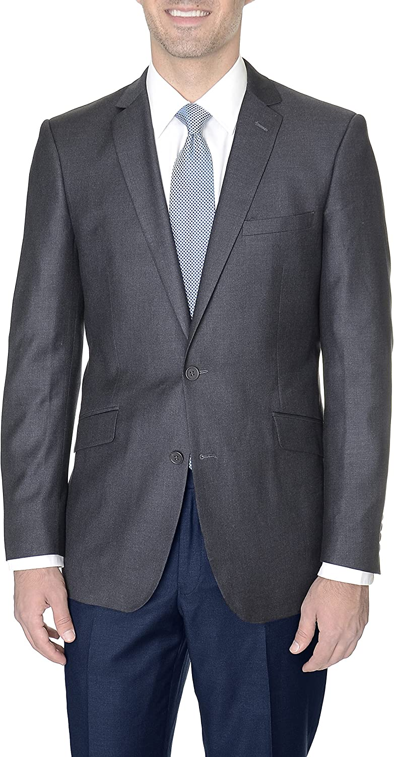 Raphael Slim Fit Solid Charcoal Gray Two Button Blazer Suit Jacket