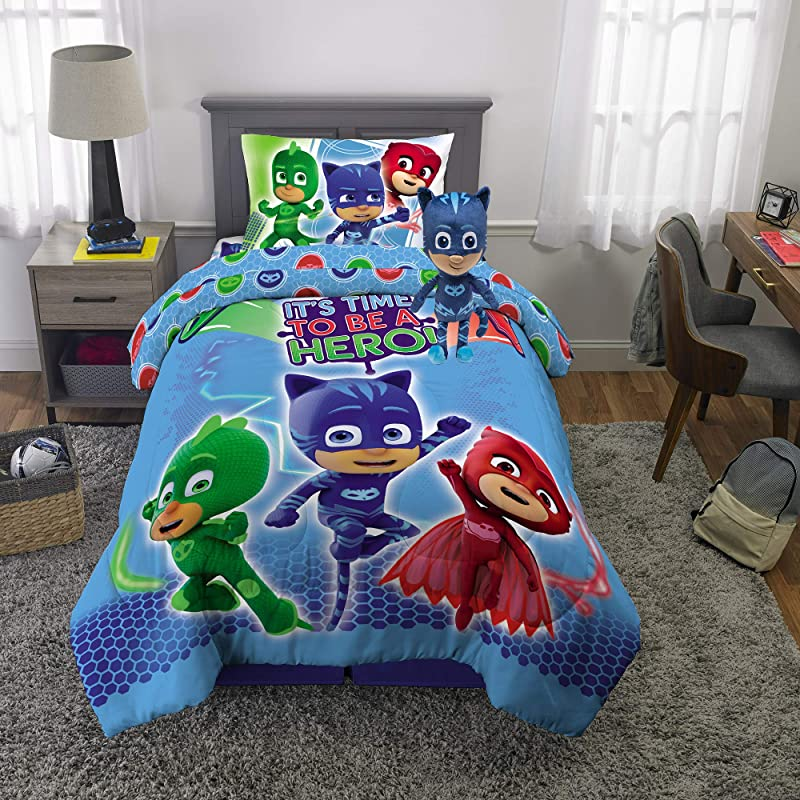 Franco Kids Bedding Super Soft Comforter With Sheets And Plush Cuddle Pillow Set 5 Piece Twin Size PJ Masks