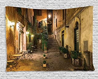 Ambesonne Wanderlust Decor Collection, Courtyard Night View with Street Lights Cafe Chairs Plants in Flowerpots Rome Italy , Bedroom Living Room Dorm Wall Hanging Tapestry, 80 X 60 Inches, Green Brown