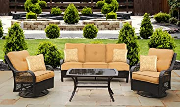 Hanover ORLEANS4PCSW-B-TAN Orleans 4 Piece All-Weather Patio Set, Sahara Sand Outdoor Furniture