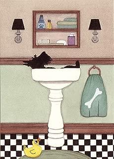 Lynch Scottish Terrier (Scottie) Fills a Sink at Bath time Folk Art Print