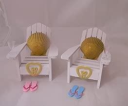 Wedding 50th Anniversary Adirondack Chairs Beach Gold Seashell Cake Topper