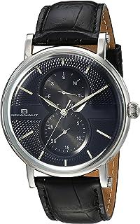 Oceanaut Men's Lexington Stainless Steel Quartz Watch with Leather Strap, Black, 21 (Model: OC0344)