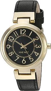 nine west goldtone lector de fácil negro correa de reloj