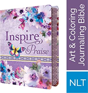 Tyndale NLT Inspire PRAISE Bible (LeatherLike, Purple Garden): Coloring Bible–Over 500 Illustrations to Color and Creative Journaling Bible Space, Religious Gifts That Inspire Connection with God