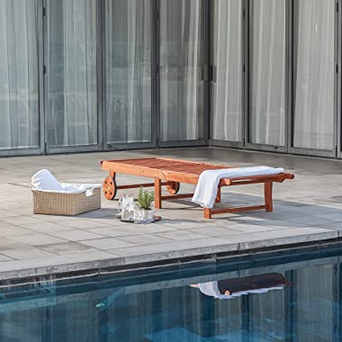 VIFAH V255 4 Back Levels Outdoor Wood Single Chaise Lounge for Outdoor Relaxation