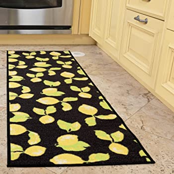 Grey Ottomanson Lemon Collection Contemporary Grey Lemons Design Runner Rug with Non-Slip Kitchen and Bathroom Rugs 20 X 59 20 X 59 PNK6343-20X59