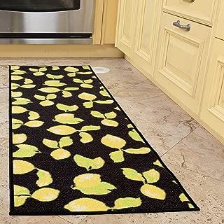 Ottomanson Collection Contemporary Lemons Design Runner (Non-Slip) Kitchen and Bathroom, Black, 20
