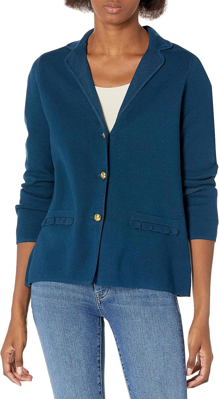 Kasper Women's 3-Button Sweater with Ruffle Pockets