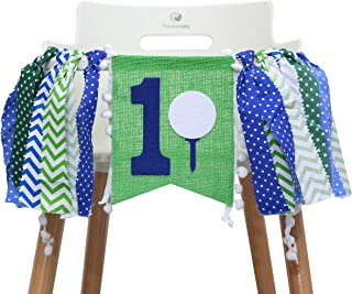1st Highchair Banner for Golf Birthday - Party Decorations for First Birthday - Party Photo Prop Bunting Backdrop Cake Smash First One - The Best Choice for Party Surprises (Golf HIGH Chair Banner)