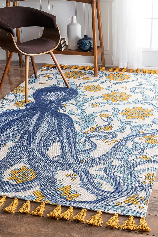 nuLOOM Thomas Paul Printed Flatweave R Max 42% Award OFF Giant Octopus Cotton Area