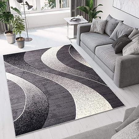 Tapiso Collection Dream Tapis de Salon Chambre Moderne Fin Couleur Noir Gris Crème Motif Abstrait Ondes Vagues Facile d'entretien 160 x 220 cm