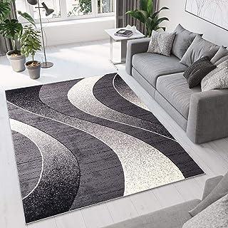 comprar comparacion Tapiso Alfombra De Salón Moderna – Color Gris Oscuro Diseño Ondas – Varias Dimensiones S-XXXL 160 x 220 cm