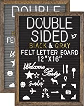 """G GAMIT Double Sided Felt Letter Board 12""""x16""""with Rustic Vintage Frame,1113 White&Gold Letters,Symbols,Emojis,Script Curs..."""