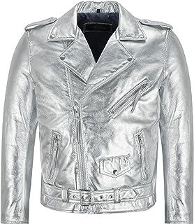 Men's Brando Slim-FIT Gold/Silver Foiled Leather Jacket Biker Racer Jacket SRMBF