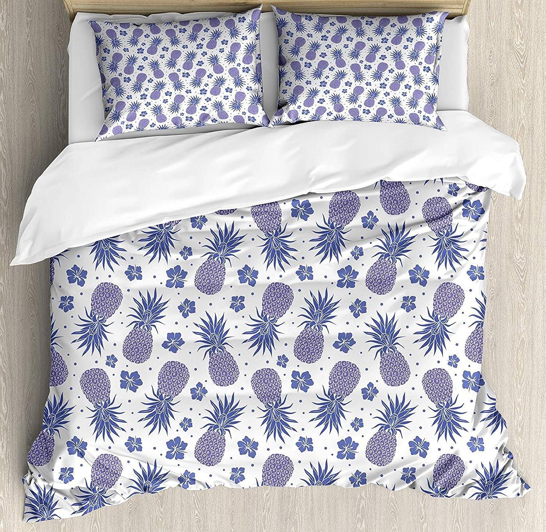 Tropical Queen Size Duvet Cover Set, Pineapples on a Hibiscus Dots Background Flourishing Hawaiian Summer,Lightweight Microfiber Duvet Cover Sets, Lavender Purple