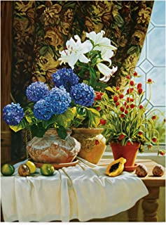 Plums Hydrangeas, And Clover by Robin Anderson, 18x24-Inch